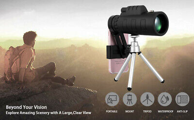 50x60 Portable HD Optical Monocular Telescope Day/Night Vision+Phone Clip+Tripo