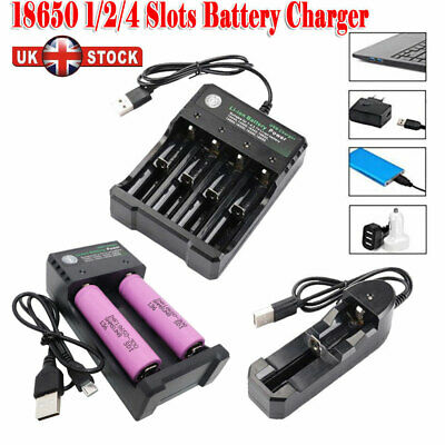 UK 1/2/4 Slots USB Charger and 18650 Samsung 3000mah Battery Li-ion Rechargeable