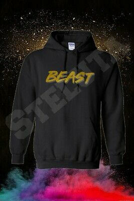 Mr Beast Beast Gold Logo Hoodie 80% Cotton, Men's, Women, Kids
