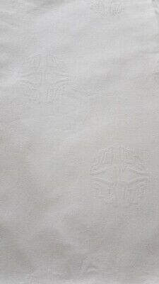 Snowy White Irish Linen Tablecloth - Trestle Table- Celtic Ring - 82ins x 50ins
