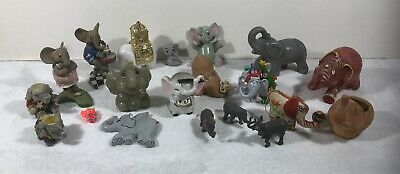 Vintage Lot of Elephant Figurines Collection Wood Stone Crystal Glass Rubber Etc