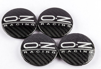 4 x 55mm Set Alloy Wheel Centre Caps Hubs M582 OZ Racing Logo Black Carbon
