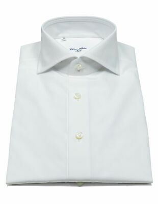 Cesare Attolini Shirt in White with Shark Collar and Double Cuff