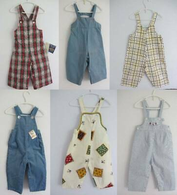 Boys girls dungarees new vintage age 1-2 50's 60's tartan check hippy