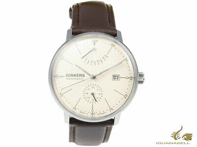 Junkers Bauhaus Automatic Watch - 6060-5 - Beige - brown strap - 40 mm - 6060-5