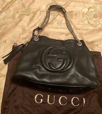 9c8bb8f81c955c GUCCI SOHO BLACK Medium Double Chain Shoulder Bag Leather Shoulder ...