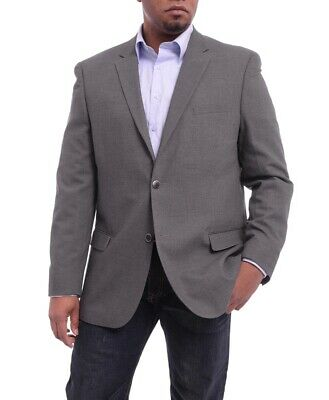 Mens 38S Caravelli Classic Fit Gray Hopsack Weave Two Button Stretch Blazer S...
