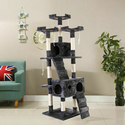 "67"" Cat Tree Tower Condo Furniture Scratching Post Pet Kitty Play House Gray"