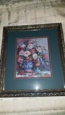 Barbara Mock C, Her Majesty's Roses, Double Matted Patina Framed, Beautiful!