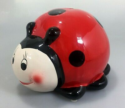 "Ladybug Coin Piggy Bank Black & Red 6.5"" W 8"" L 6"" High"