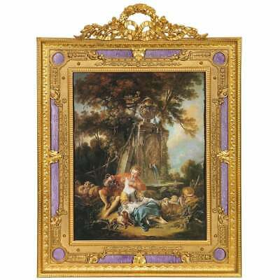 Large French Gilt Bronze Ormolu and Purple Guilloche Enamel Picture Photo Frame