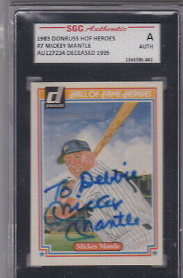 Mickey Mantle 1983 Donruss Hof Heroes Signed Autographed Card #7 Sgc Authentic