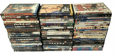 57 Assorted DVD Used Movies Action Comedy Drama Romance Adventure Thriller Films