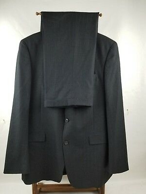 Austin Reed London Men's Size 44L Dark Gray Stripes Vent 100% Wool Suit W38X33.5