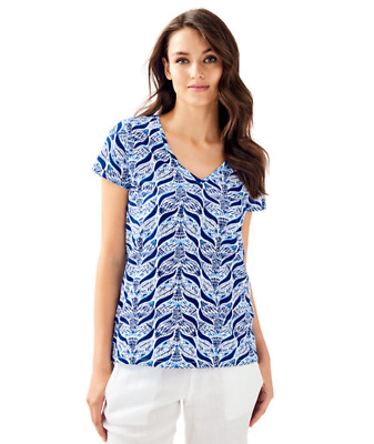 789799443fc4c5 Nwt Lilly Pulitzer Etta Resort White Blue A Mermaids Tail Top Small, Sml, S