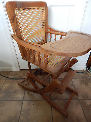 Vintage / Antique Oak Wooden Cane Seat & Back Adjustable High Chair