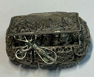 † Blessed Antique Sacred 800 Filigree Tiny Rosary Sterling Medal W/ Case Box †