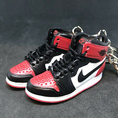 the latest c0c27 7c2b0 Pair Air Jordan I 1 Retro High Bred Toe Red Keychain 3D Sneakers 1 6