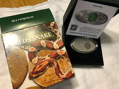 The Opal Snake 1 Oz Silver Coin Fiji 2013 $10 Chinese Lunar Year of the Snake