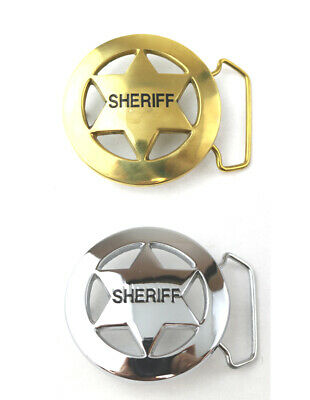 """Sheriff Six Point Star Badge Belt Buckle Nickle Plated & Solid Brass fits 1-1/2"""""""