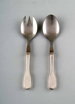 Hans Hansen cutlery Susanne salad set in sterling silver and stainless steel.