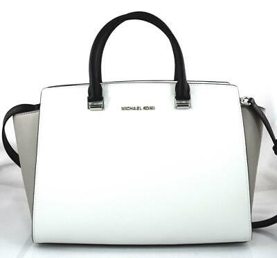 36bc79eb8230 Authentic New Nwt Michael Kors $448 Selma White Black Lg Satchel Crossbody  Bag