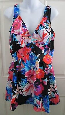 8a4962508f NWOT Rose Marie Reid Swim Suit Dress Plus 18 Black Red Blue Floral Skirt  Padding