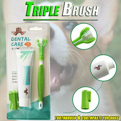 Dog Toothbrush And Toothpaste Oral Dental Care Fresh Breath Teeth Cleaning CA