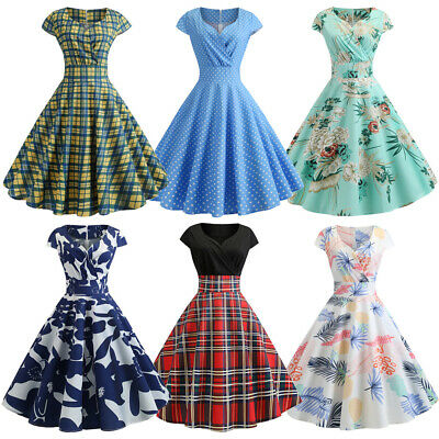 Vintage Retro 50s Checks Floral Party Rockabilly Evening Prom Pinup Swing Dress