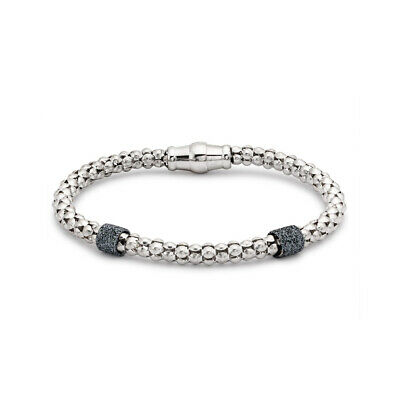Jewelco London Rhodium Sterling Silver CZ Crushed Ice Magnetic Popcorn Bracelet