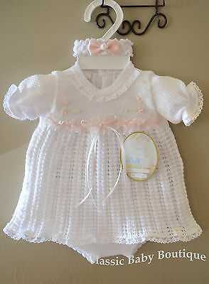 Will/'beth NWT Newborn Preemie Baby Girl Pink Knit Set Bonnet Take-Me-Home Dolls