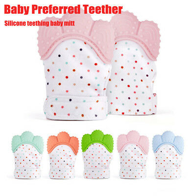Silicone Baby Teether Teething Mitt Mitten Glove Safe BPA Free Chew Dummy Toy %N