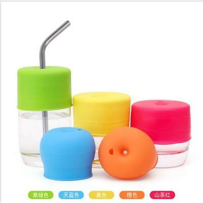5 Colors Baby Silicone Kids Lids Stretchable Bottle Cover Soft Leakproof Cup MH