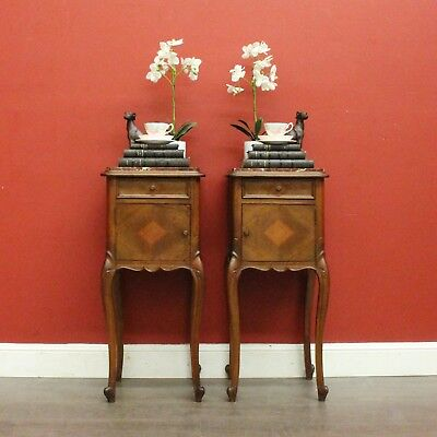 Pair of Antique French Walnut and Marble Top Lamp Table Bedside Cabinet Cupboard