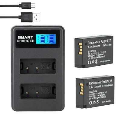 2*LP-E17 Batteries + Dual Slots Camera Battery Charger For Canon EOS M3 750D T6I