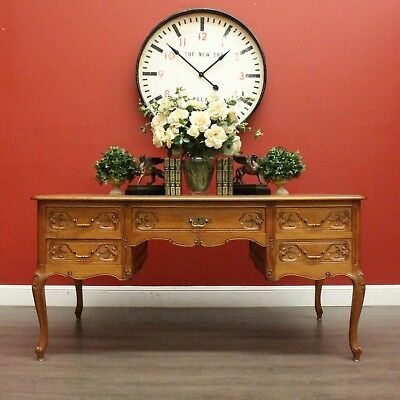 Antique French Oak 5 Drawer Parquetry Top Library Office Writting Computer Desk