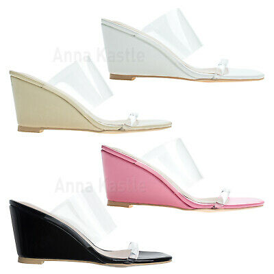0628451d9 AnnaKastle Womens Transparent Clear Strap Wedge Heel Mule Sandal Shoes