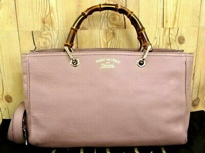 434255c52f3f MNT GUCCI Hand Shoulder Bag 2 Way Shopper Leather Bamboo Italy 31160111000 P