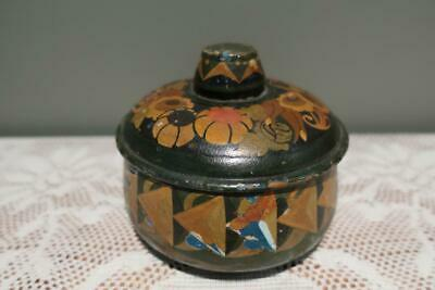 1920's Vintage Hand Painted Wooden Powder Puff Box / Bowl - Signed - With Puff