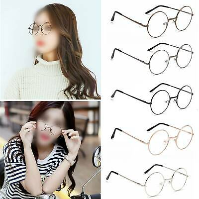 Fashion Large Oversized Metal Frame Clear Lens Round Circle Eye Glasses Nerd EW