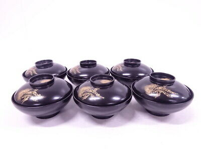 4190946: Japanese Lacquer Lidded Soup Bowl Set Of 6 / Gold Inlay Crane