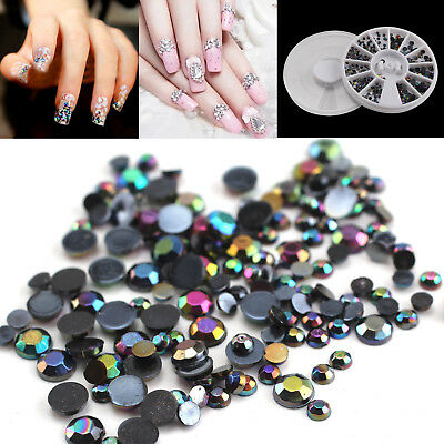 300PCS 3D Nail Art Rhinestones Rose Crystals Gems Beads Charms Pearl Glitter DIY