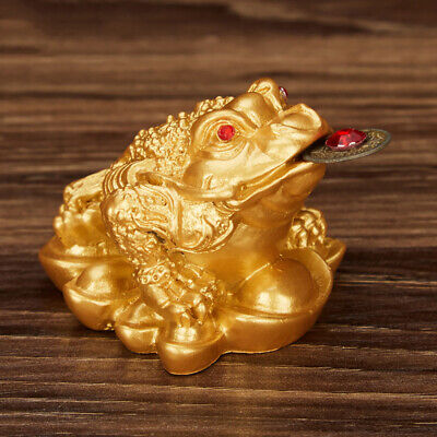 Golden Feng Shui Money Toad Lucky Fortune Chinese Frog Decoration For Home Shop