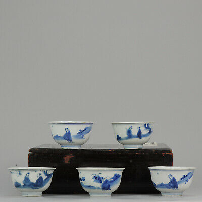 Ming SET Tea Chinese 1600-1640 Porcelain China Bowl Calligraphy Figures Marked