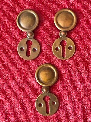 3 Solid Brass Key Hole Lock Escutcheons With Cover Plates Door Furniture Antique