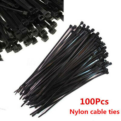56f53bab65f0 100X Black 5mm*250mm Cable Ties Tie Wraps Nylon Zip Ties Strong Extra Long
