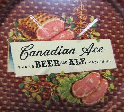 Old CANADIAN ACE BEER and ALE HAM & HAMSTEAKS Ad Sign Tin Tip Tray USA