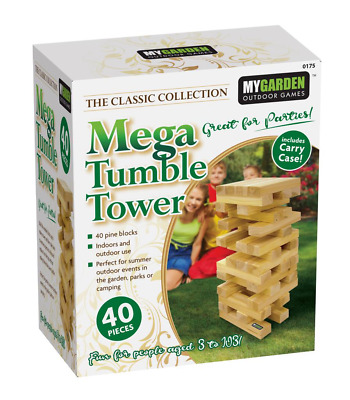 40pc GIANT JENGA WOODEN TUMBLING TOWER BLOCKS OUTDOOR GARDEN FAMILY FUN GAME NEW