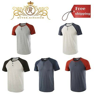 d3eb234d Mens Short Sleeve Raglan Fit Baseball Henley T Shirts Tee Casual Summer Top  New