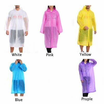 Adult Child Poncho Raincoat Outdoor Camping Hiking Emergency Hooded Rain Coat
